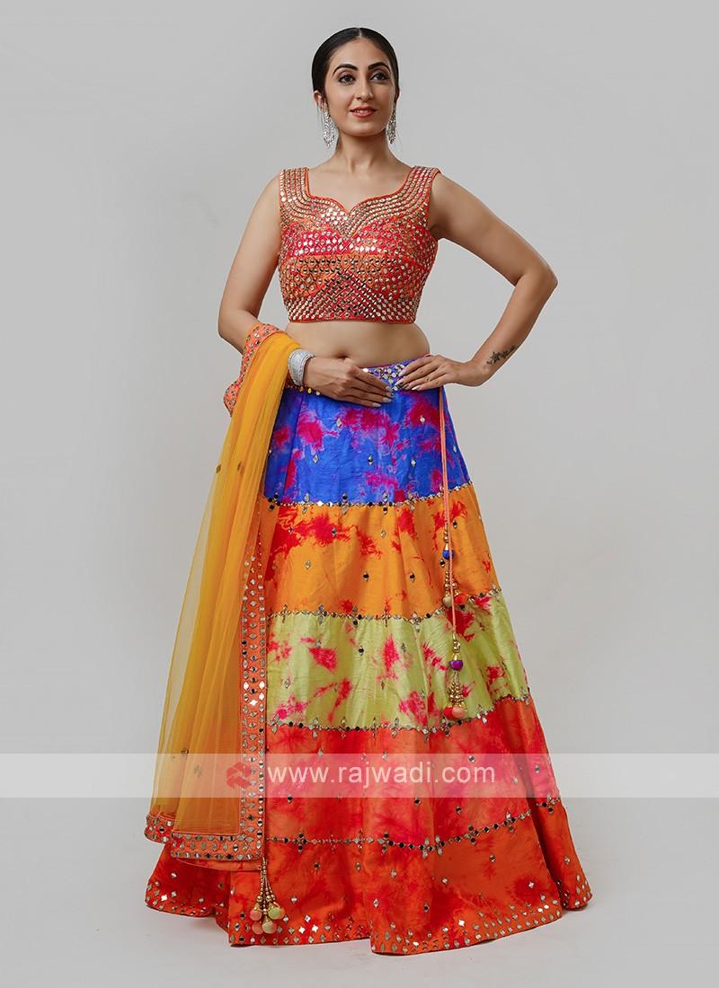 Multicolor Silk Choli Suit