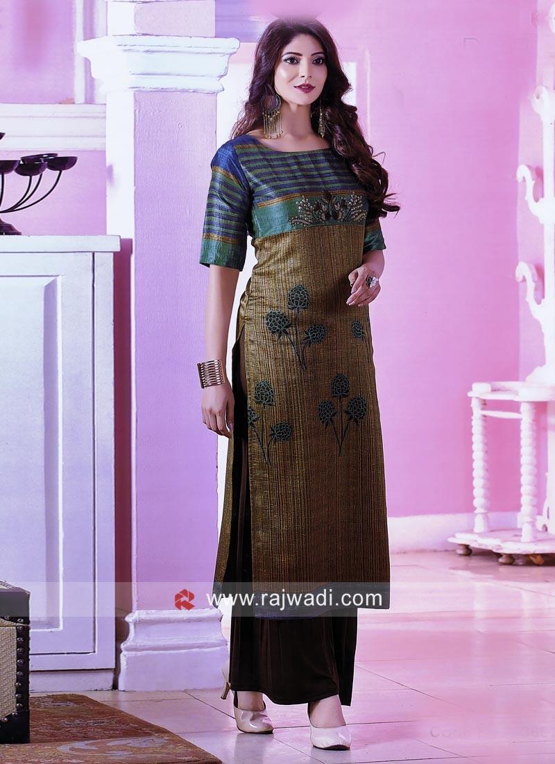 Multicolor Silk Straight Kurti