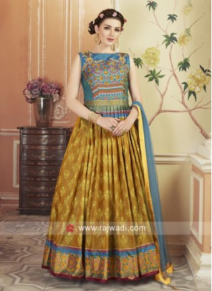 Multicolor Wedding Gown with Patola Print