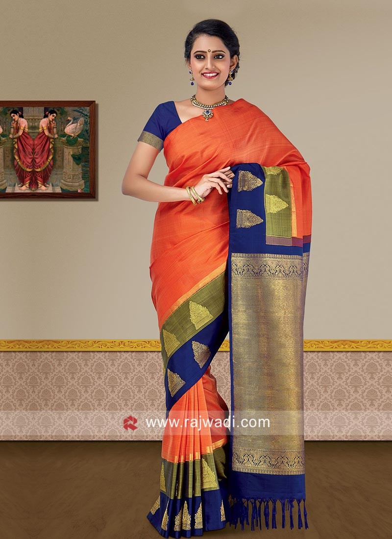 Multicolor Zari Weaving Saree