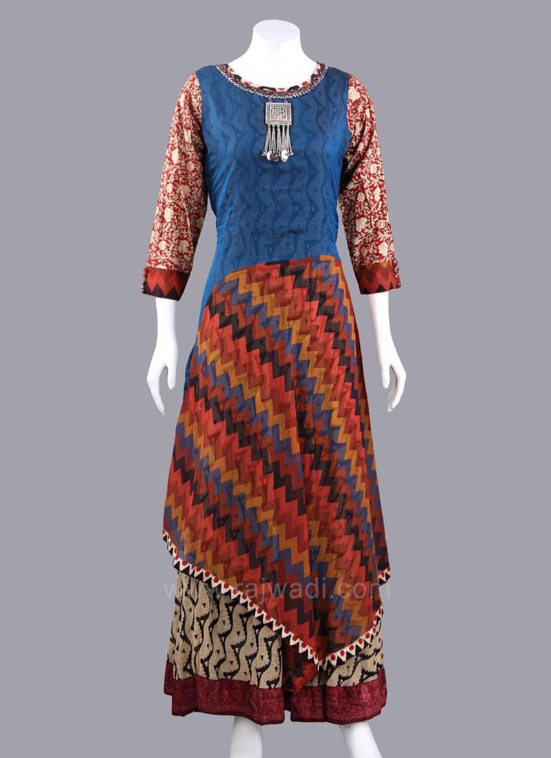 Multicolored Double Layered Long Kurti