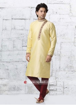 Round Neck Golden Yellow Kurta Set
