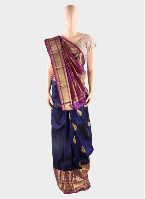 Multicolored Weaved Saree with Silk Blouse