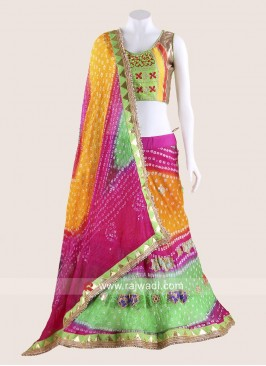 Multicoloured Bandhani Chania Choli for Garba