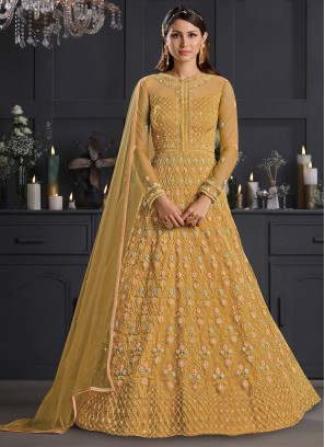 Mustard Embroidered Net Salwar Suit