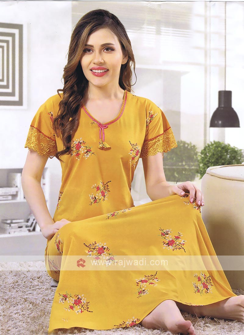 Mustard Yellow Hosiery Women Nighty