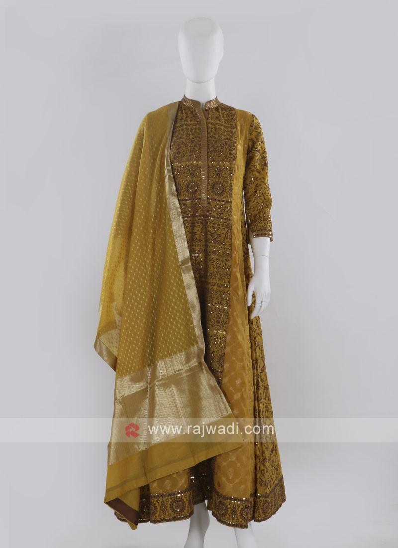 Mustard Yellow Anarkali Suit with dupatta