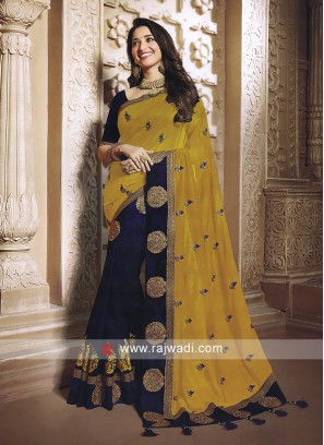 Mustard yellow and blue saree