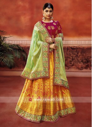 Mustard Yellow and Deep Pink Lehenga Choli