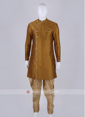 mustard yellow and golden Patiala Suit