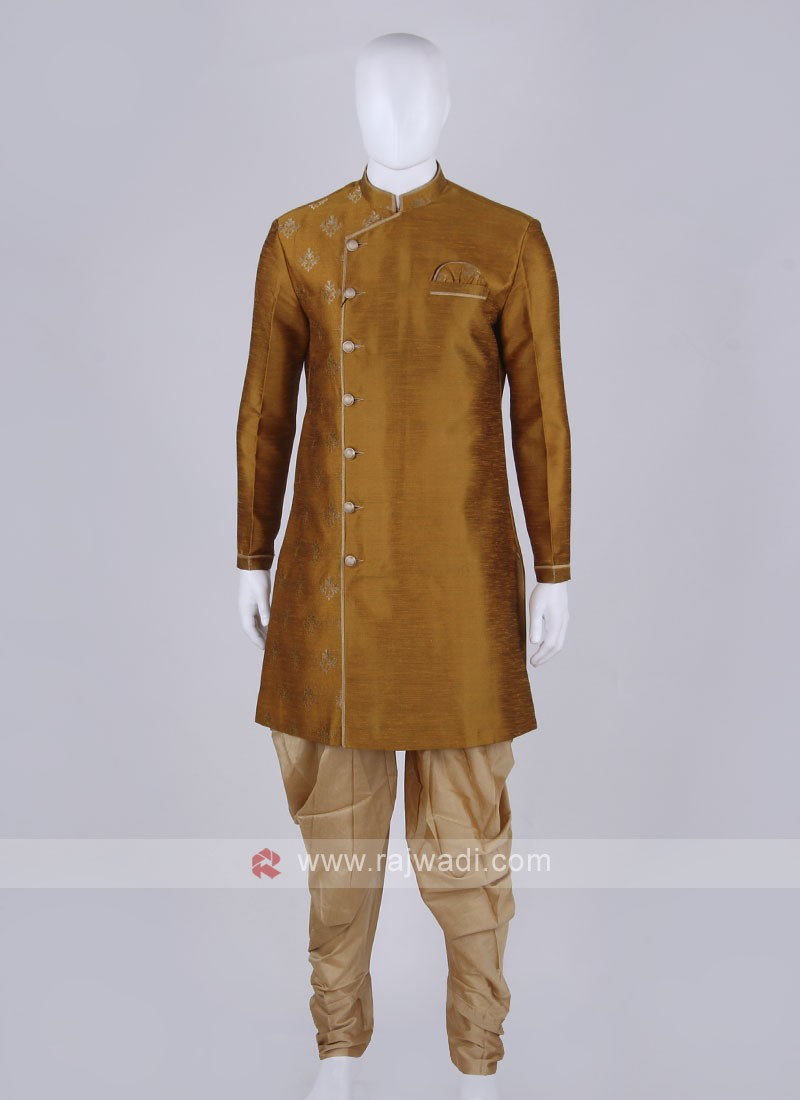 mustard yellow and golden Indo Western