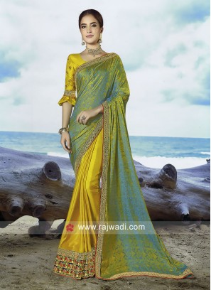 Mustard yellow and green Art Jacquard Silk  saree with blouse.