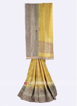 Mustard yellow and grey banarasi silk saree