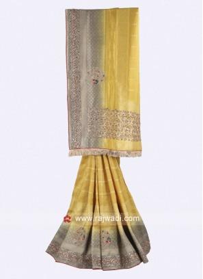 Mustard yellow and grey banarasi silk saree