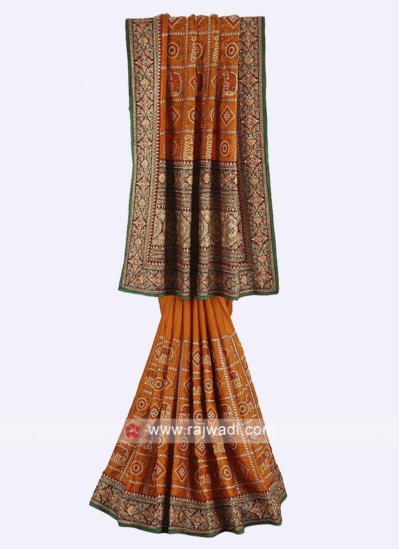 Mustard yellow and maroon color Gajji silk saree