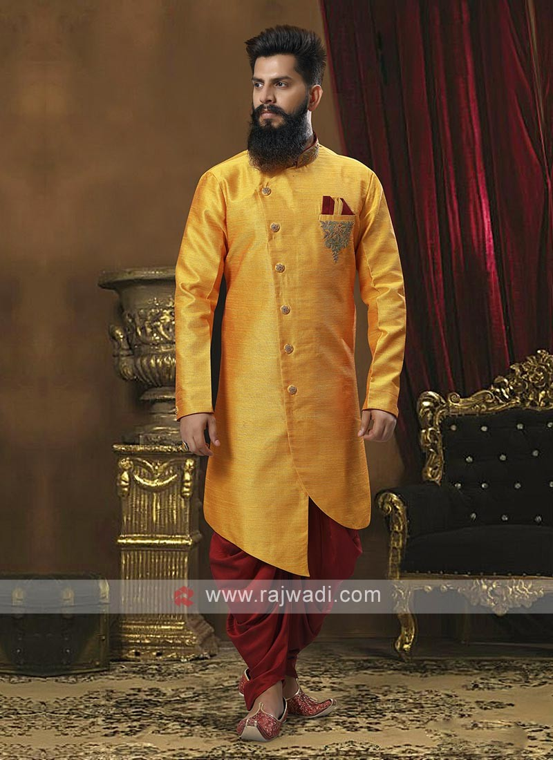 Mustard Yellow And Maroon Patiala Suit