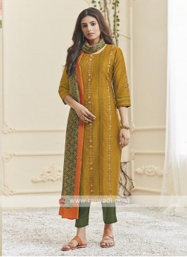 Mustard Yellow And Mehndi Green Suit