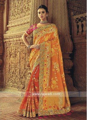 Mustard Yellow and Orange Half n Half Saree