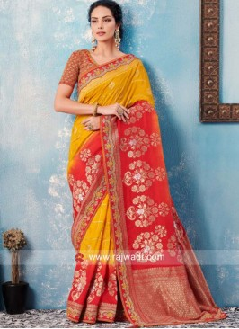 Mustard Yellow and Red Designer Saree