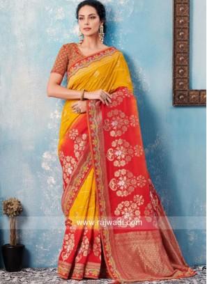 Mustard Yellow and Red Designer Saree