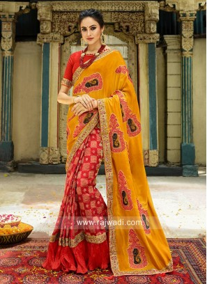 Mustard Yellow and Red Half n Half Saree