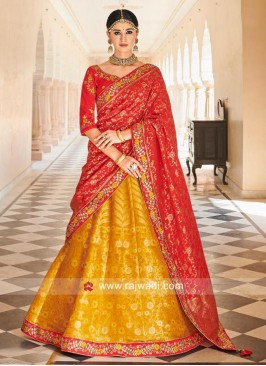 Mustard Yellow and Red Lehenga Choli