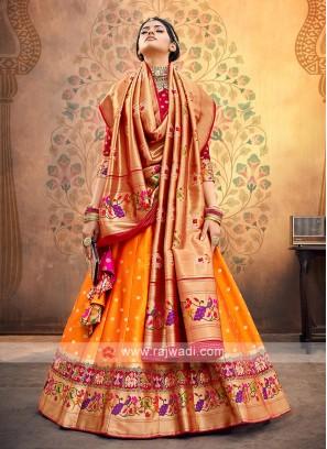 Orange And Red Silk Lehenga Choli