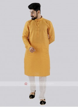 Mustard Yellow And Off White Kurta Set