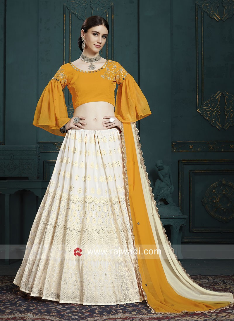Mustard Yellow and White Lehenga Choli