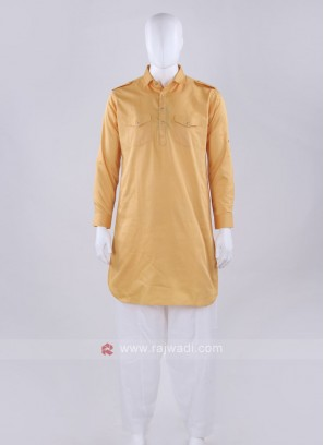 Mustard Yellow And White Solid Pathani Suit