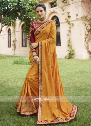 Mustard Yellow Art Silk Wedding Saree
