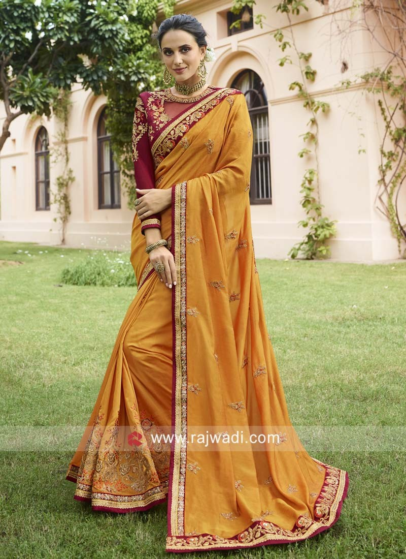 Mustard Yellow Art Silk Wedding Saree