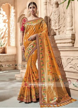 Mustard Yellow Banarasi Silk Saree