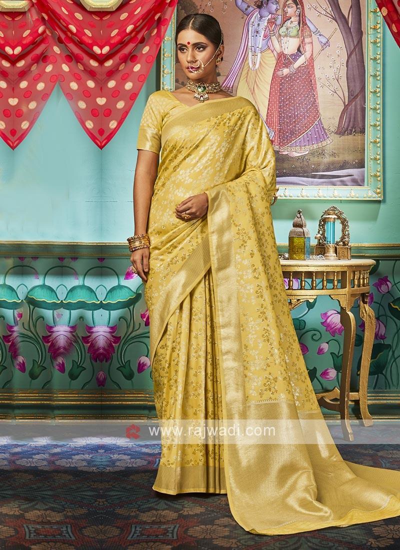 Mustard Yellow Banarasi Silk Saree