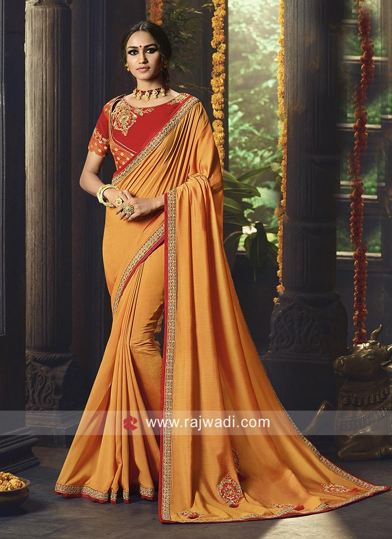 Mustard Yellow Border Work Saree