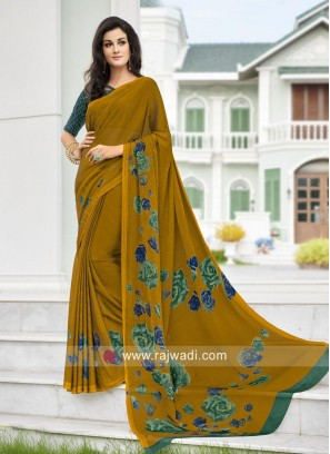 Mustard Yellow Casual Printed Saree