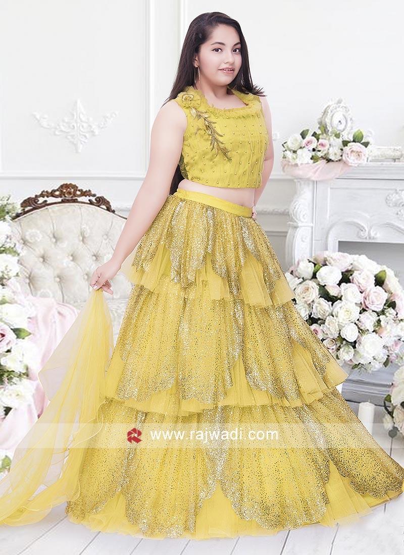 Mustard yellow Choli suit