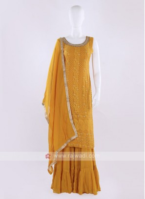 Mustard yellow color Gharara Suit with dupatta