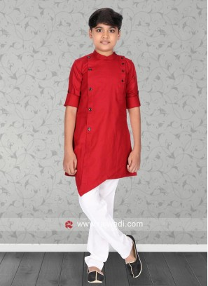 Red Color Kids Pathani Set