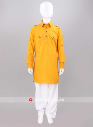 Mustard Yellow Color Kids Pathani Set