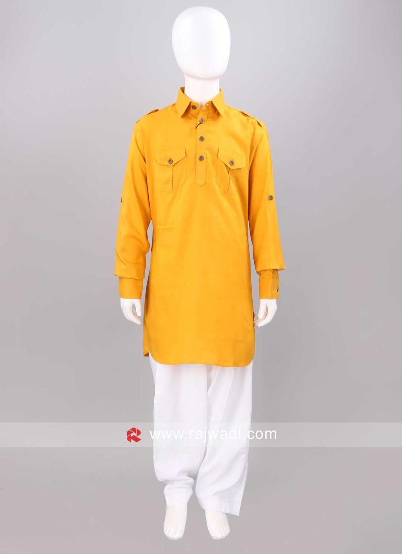 Mustard Yellow Color Kids Pathani Set