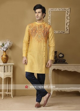 Mustard Yellow Color Kurta Set