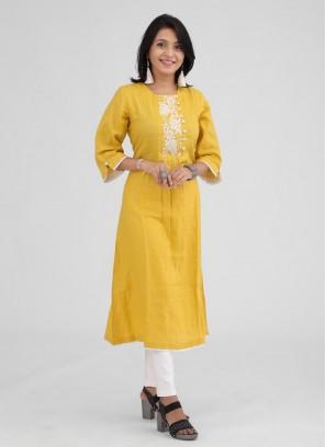 Mustard Yellow Color Linen Kurti