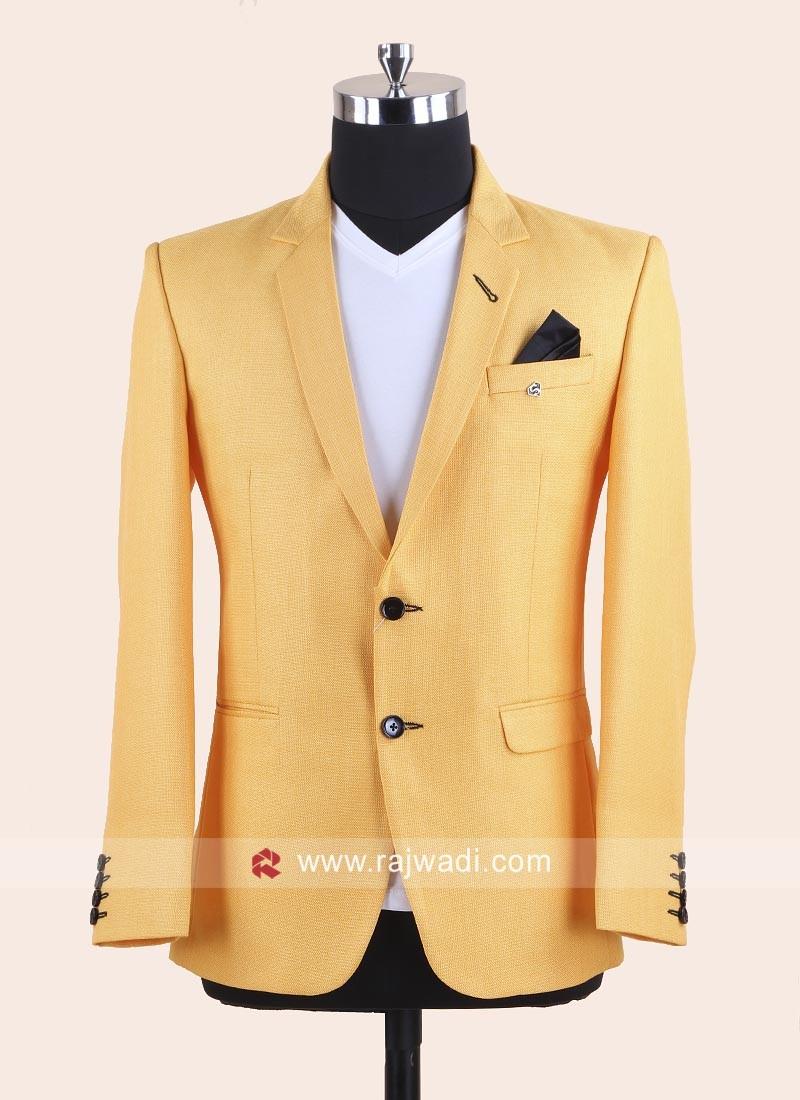 Mustard Yellow Color Wedding Blazer