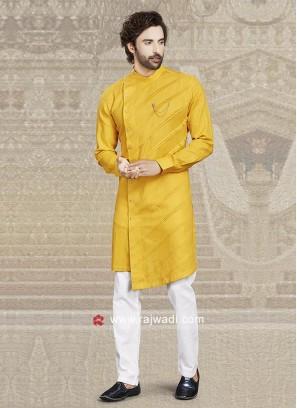 Mustard Yellow Cotton Kurta Pajama