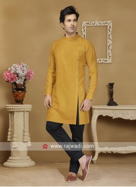 Mustard Yellow Cotton Kurta Set