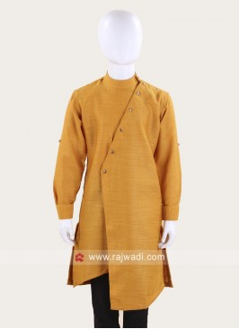 Mustard Yellow Cotton Silk Kurta