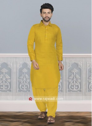 Mustard Yellow Cotton Silk Pathani Suit