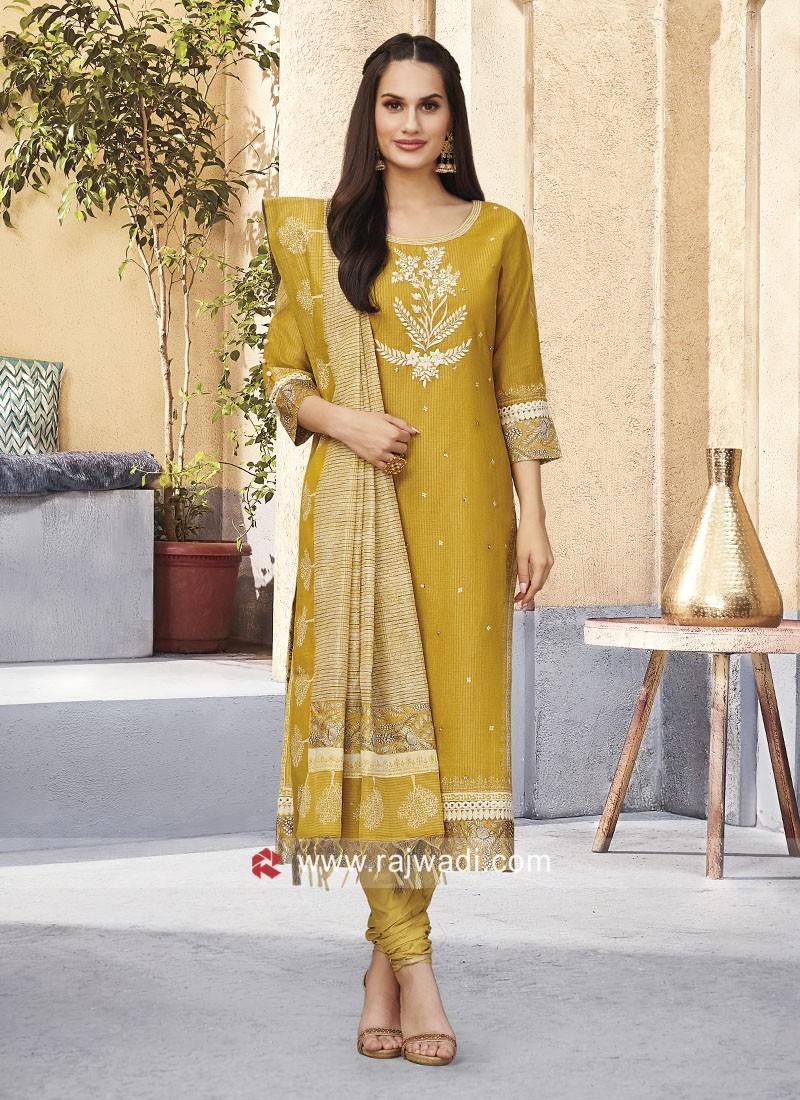 Mustard Yellow Cotton Silk Salwar Kameez
