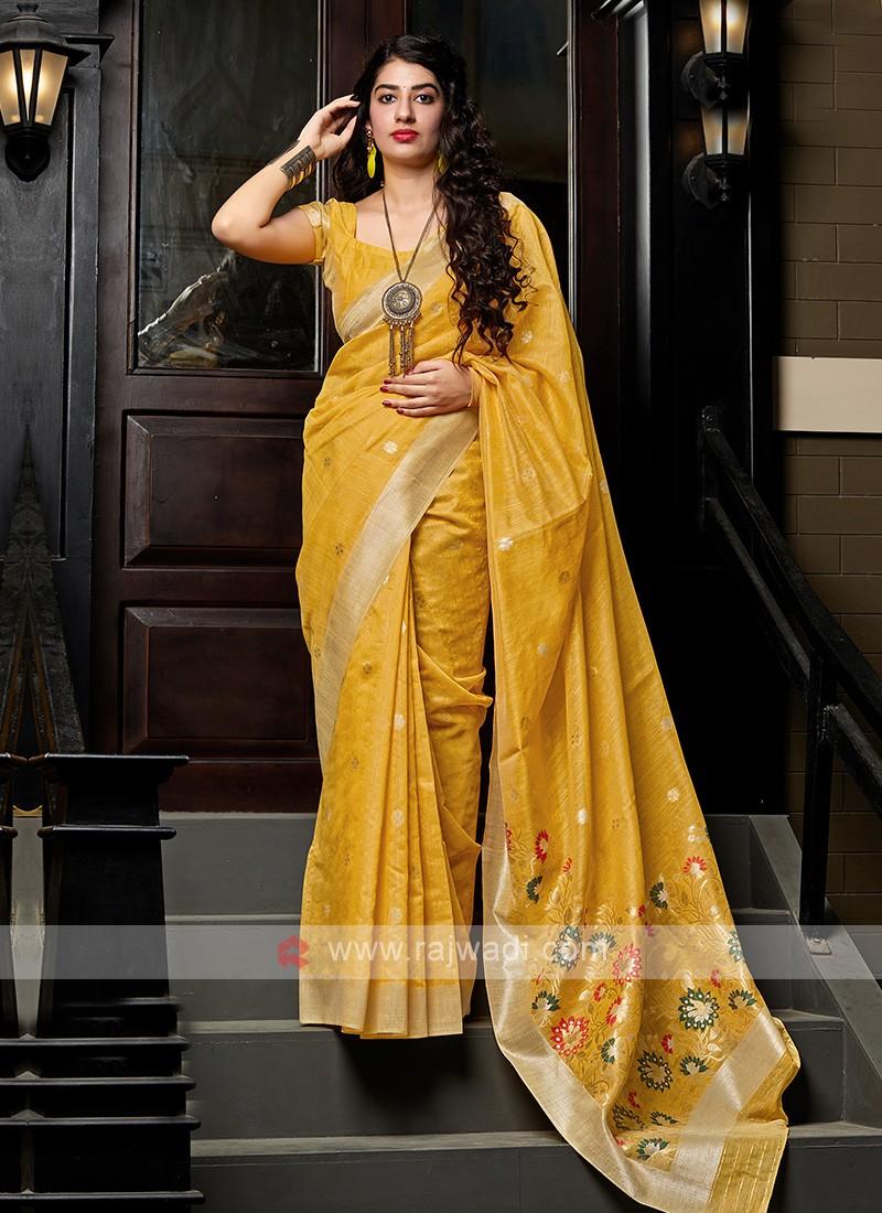 Mustard Yellow Cotton Silk Saree